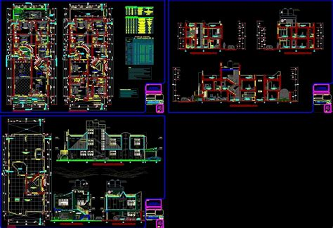 residential house project dwg full project  autocad