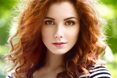 Women Outdoors Redhead Blurred Curly Hair Face