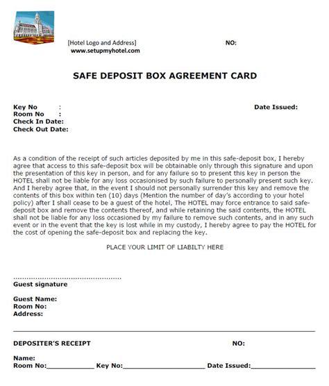 safe deposit box access forms hotel safe deposit box procedures