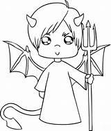 Demon Coloring Printable Pages Devil sketch template
