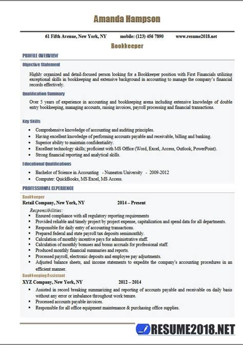 latest resume  templates  bookkeeper  samples