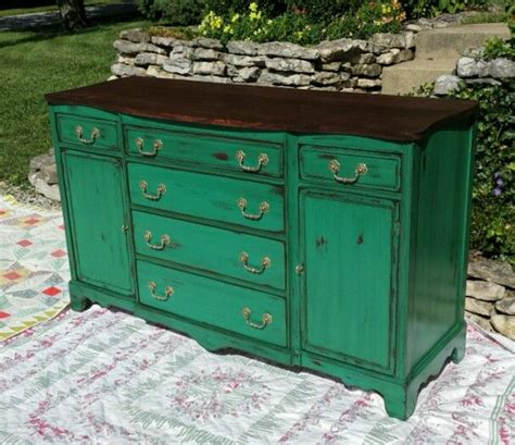 vintage buffet done with valspar chalky finish paint in peridot broche which is a very pretty