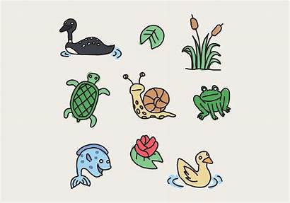 Pond Animals Colorful Vector Clipart
