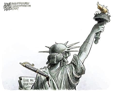 donald trump cartoons featuring  statue  liberty