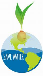 Save Water Diagram With Earth And Plant Stock Vector