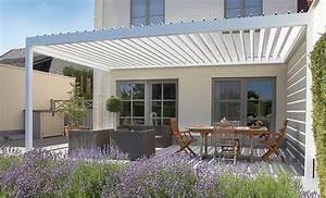 Weisse terrassenuberdachung mit sonnenschutzpanellen fur for Beschattung für terrassenüberdachung
