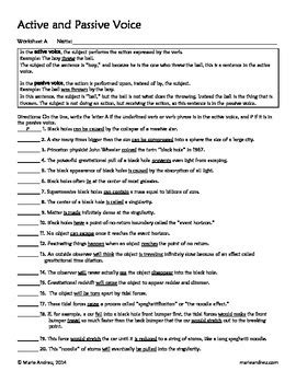 active and passive voice differentiated worksheets by
