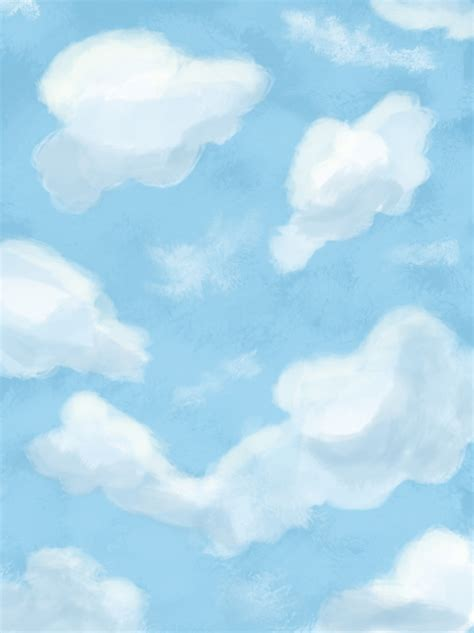 Original Hand Painted Oil Painting Wind Blue Sky White