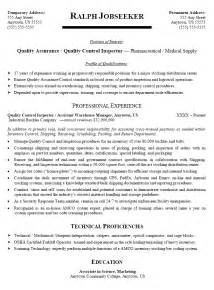 quality assurance resume objective resume sle for qc qa inspector images frompo