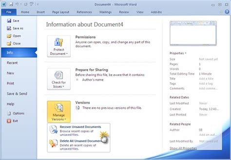 recover  unsaved ms word  document  seconds