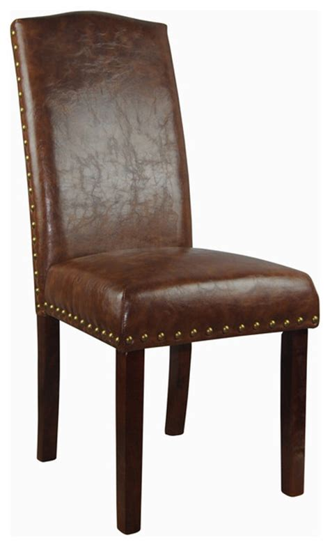 Overstockcom Dining Chairs by Castillian Collection Espresso Faux Leather Parson Chairs