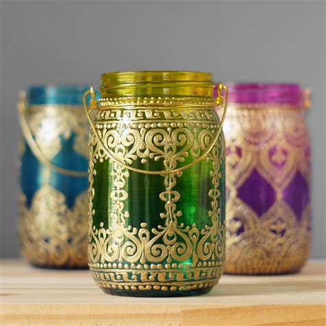 Ombre Home Decor Mason Jar Boho Chic Lantern Hand Painted
