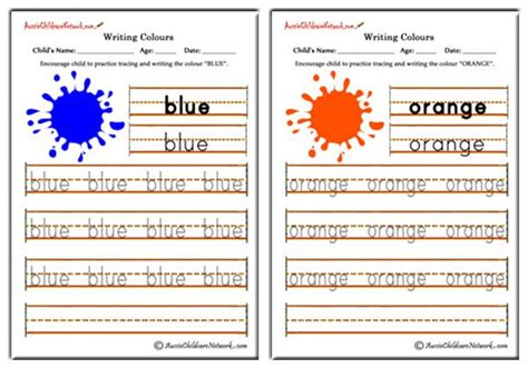writing colours aussie childcare network
