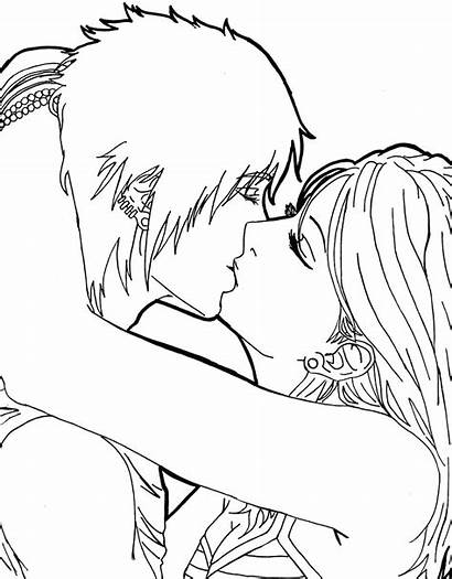 Coloring Kissing Anime Couples Kiss Colouring Drawing