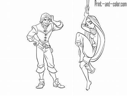 Coloring Flynn Rider Rapunzel Printable Tangled