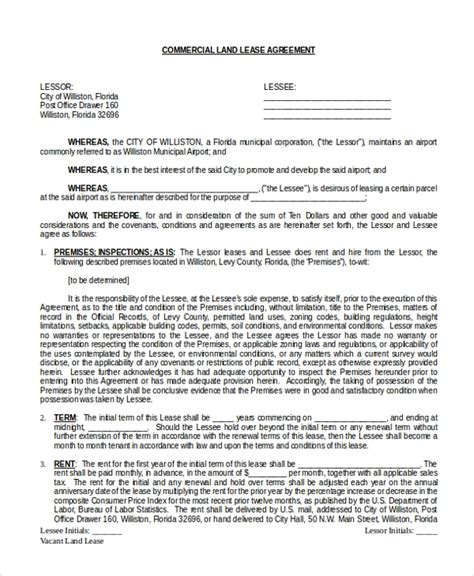 sample commercial agreement form   documents