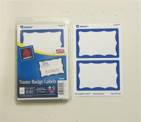25 avery dennison blue border badges name tags id labels adhesive peel label 72782051440 ebay