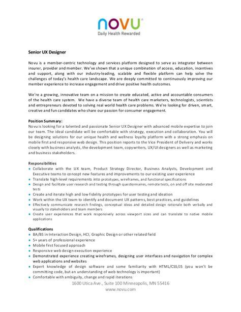 ux designer description senior ux designer resume resume ideas