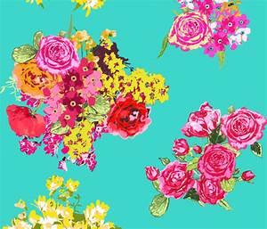 aqua turquoise flowers wallpaper - katarina - Spoonflower