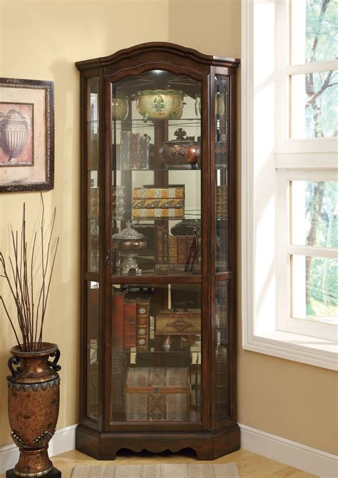 Coaster Home Furnishings Contemporary Curio Cabinet by 950175 Brown Corner Curio Cabinet From Coaster 950175