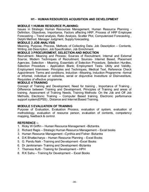 MBA Program (Bangalore University) syllabus course