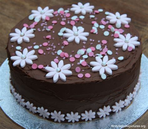 Chocolate Birthday Cake With Flowers Pictures Birthday