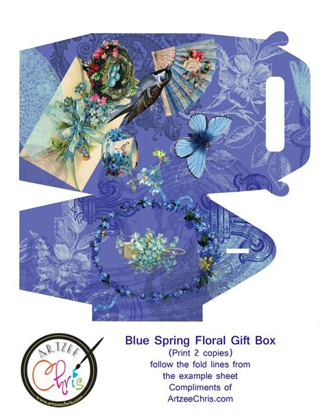 artzee blog blue color themed spring gift box printable