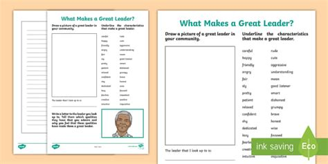 great leader worksheet worksheet