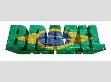 National Flag of Brazil on the word of a brick texture