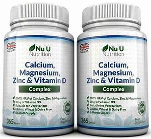 Calcium Magnesium Zinc Vitamin D Supplement 365 X 2 Bottles Vegetarian Tablets 5060483130187