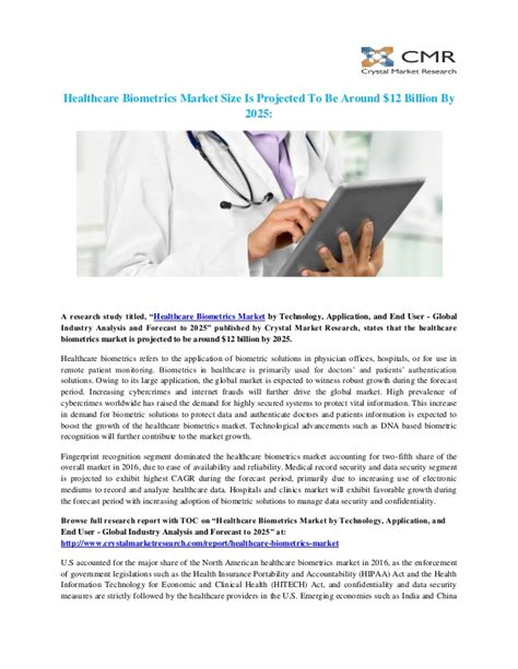 Healthcare biometrics market by technology, application ...
