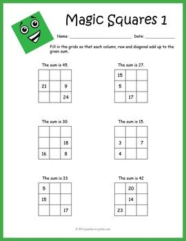magic squares worksheets by puzzles to print teachers pay teachers