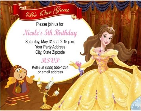 beauty  beast belle birthday party invitations
