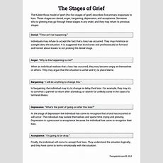 The Stages Of Grief (education Printout) (worksheet)  Therapist Aid
