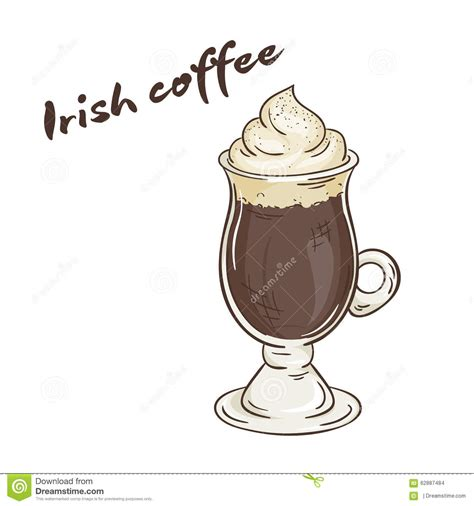 Vector Printable Illustration Of Isolated Cup Of Irish Coffee With Label Stock Vector   Image