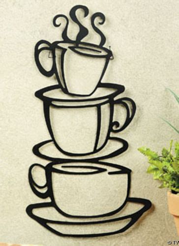 Talk about an easy and simple farmhouse kitchen decor in the form of a coffee sign, complete with hanging coffee mugs. coffee themed kitchen decor | Details about Metal Hanging stacked COFFEE CUP kitchen Wall Decor ...