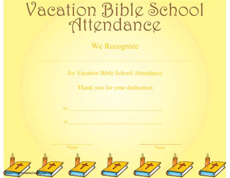 vbs certificate a printable certificate recognizing vacation bible school attendance and illustrated with a row