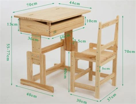 details of wooden student furniture classroom desk and