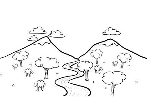 Dibujo para pintar un paisaje con río imagen de