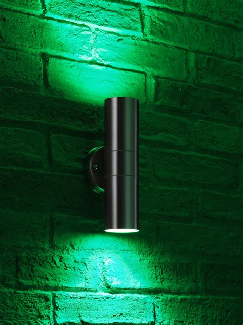 auraglow stainless steel double up down outdoor led colour changing wall light ebay auraglow stainless steel double up down outdoor led colour changing wall light ebay