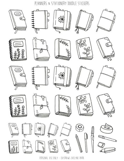 planners stationery doodle stickers printable