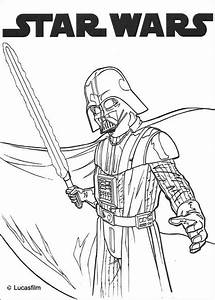 Darth vader and laser sword coloring pages - Hellokids.com