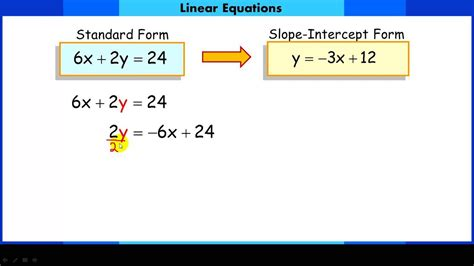 converting linear equations from standard form to slope intercept form youtube