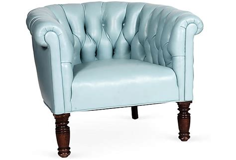 light blue leather chair