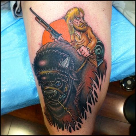 Guy on a buffalo tattoo By Jason Reeder | Tattoos ...
