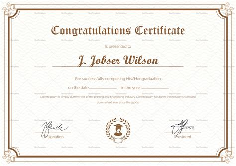 congratulations   won certificate template image