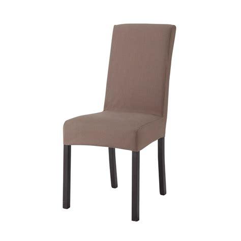 housses de chaise housse de chaise en coton taupe margaux maisons du monde