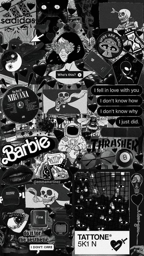 aesthetic moodboard black collage wallpaper