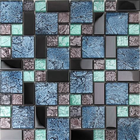 metallic wall tiles kitchen glass tile backsplash black stainless steel with 7479