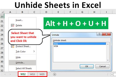 unhide single  multiple sheets  excel